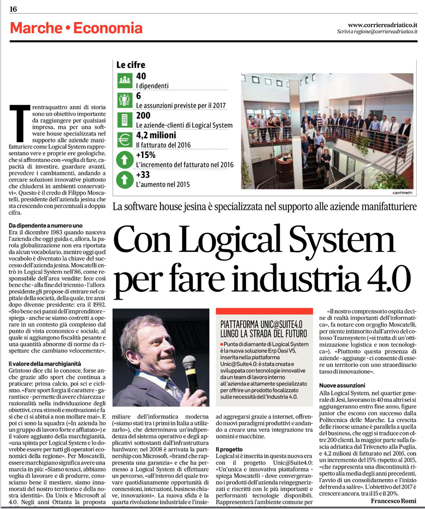 LOGICAL SYSTEM per fare Industria 4.0 sul CORRIERE ADRIATICO | LogicalSystem